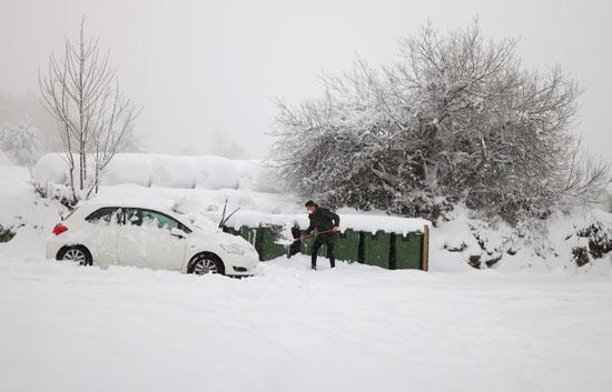 تساقط الثلوج على السيارات