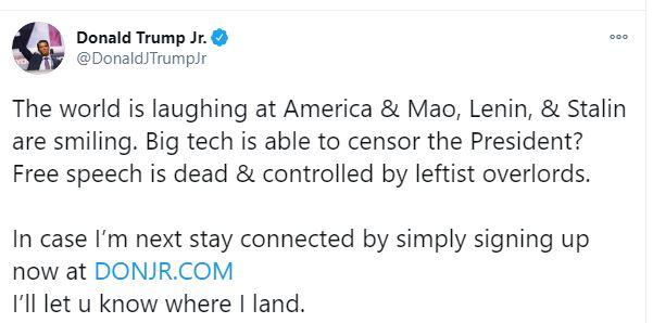 Trump's son via Twitter