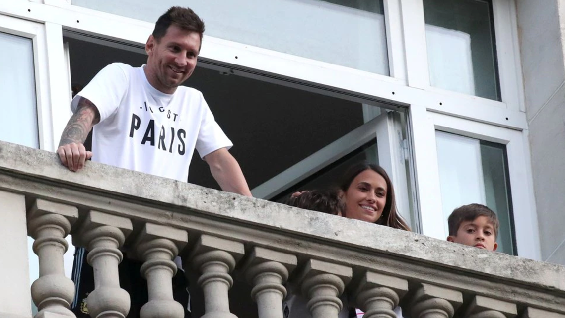 Messi on the balcony of his suite in the hotel
