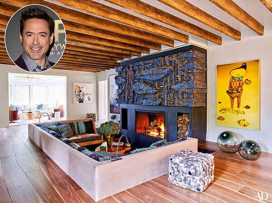 Robert Downey Jr.'s living room Photo by Architectural Digest