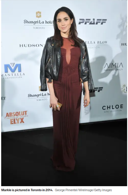 Megan in an evening dress and a leather jacket