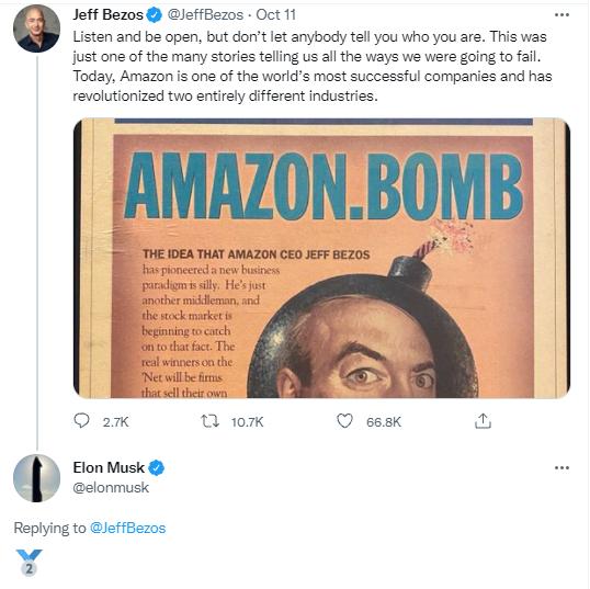 ايلون ماسك يسخر من جيف بيزوز