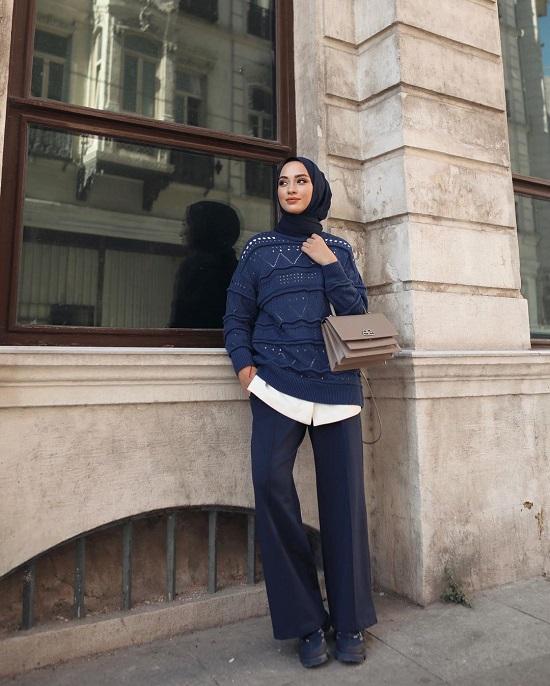 أفكار لتنسيق ملابس التريكو مع الحجاب (11)