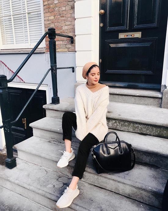 أفكار لتنسيق ملابس التريكو مع الحجاب (9)
