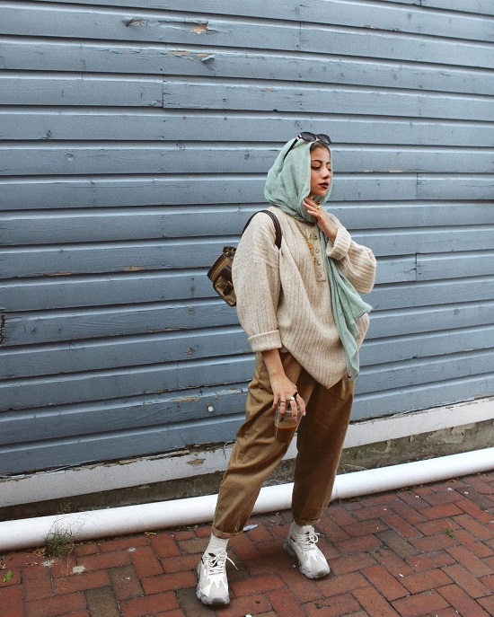 أفكار لتنسيق ملابس التريكو مع الحجاب (2)
