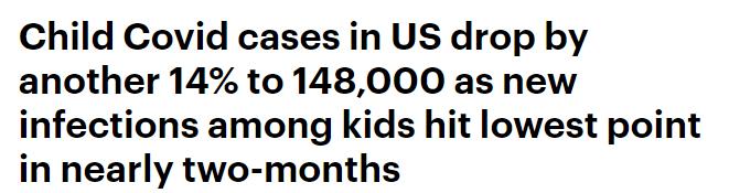 انخفاض حالات الاصابة بين الاطفال بكورونا فى امريكا