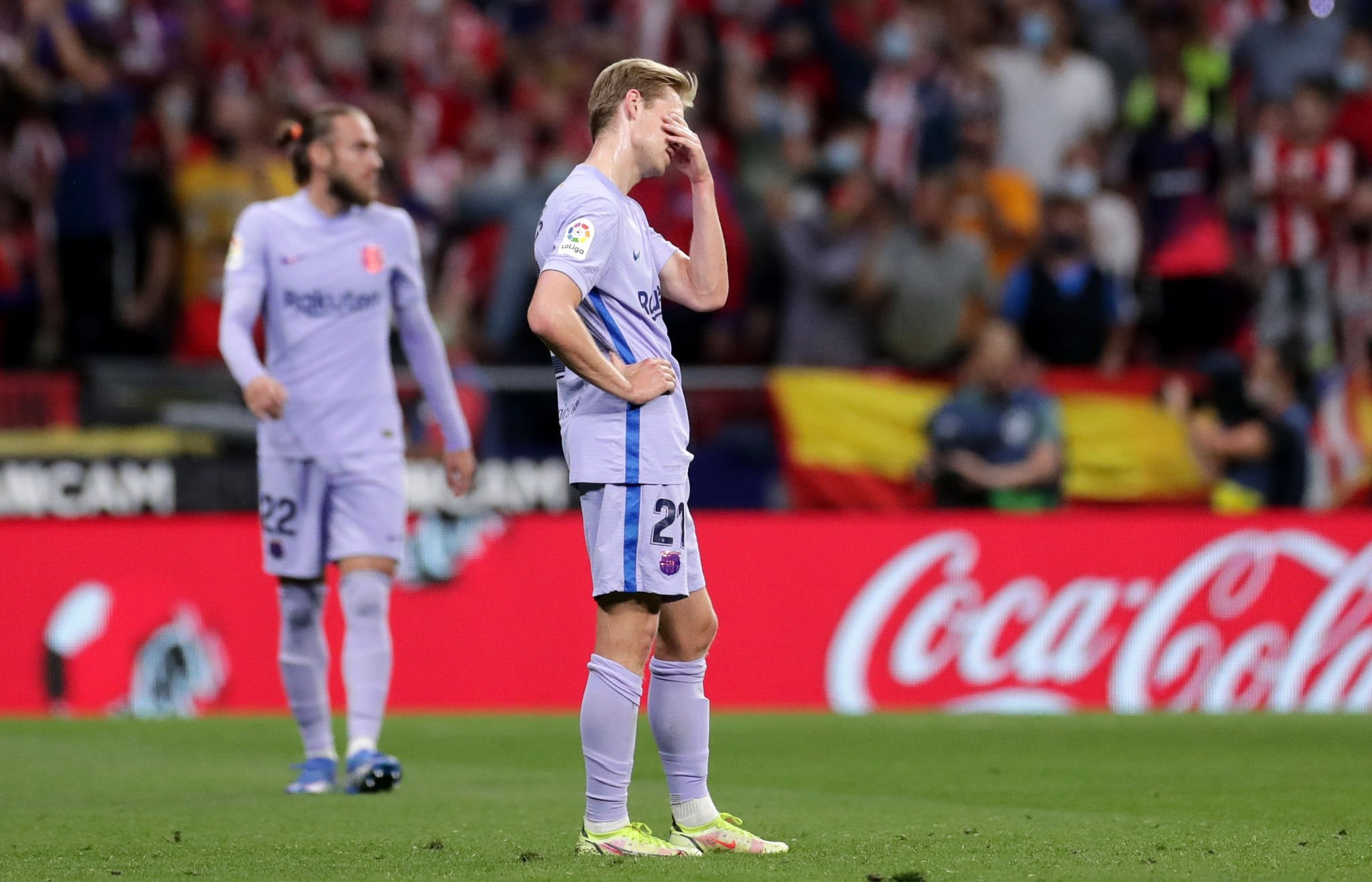 Barcelona players mourned after the first goal