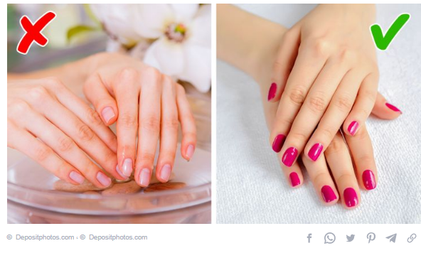 Dry the nails with cold water