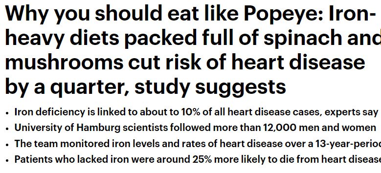 Iron-rich food protects you from heart disease