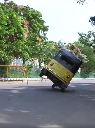 The tuk-tuk runs on two wheels