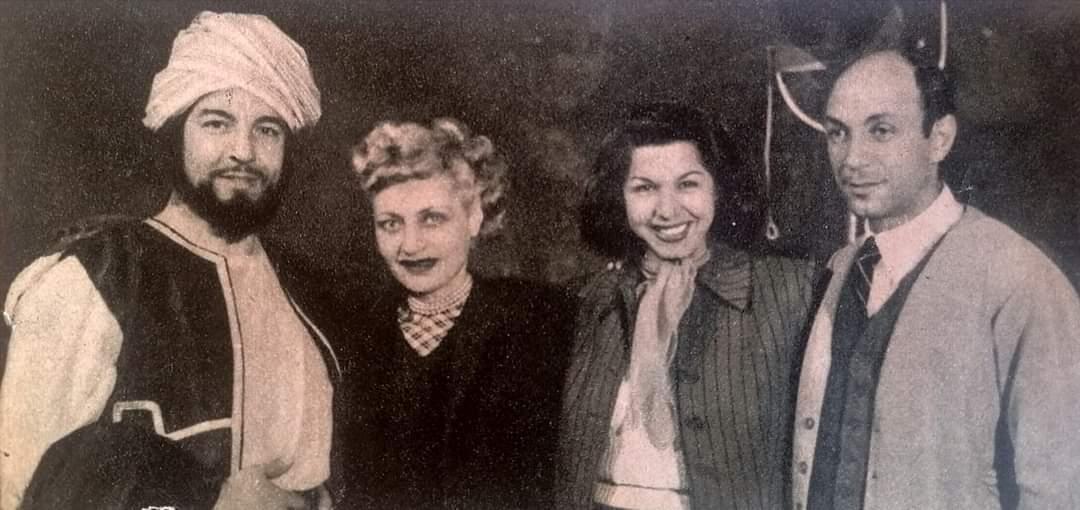 هنري بركات ، سامية جمال ، أسيا ، أنور وجدي  كواليس فيلم أمير الإنتقام ١٩٥٠
