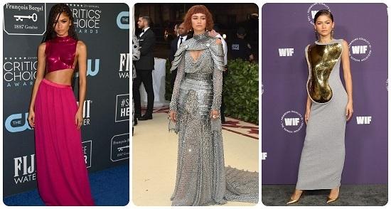 Zendaya in elegant metallic dresses