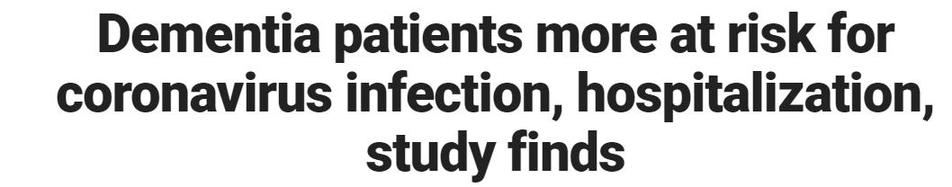 دراسة: مرضى الخرف أكثر عرضة لخطر الإصابة بفيروس كورونا