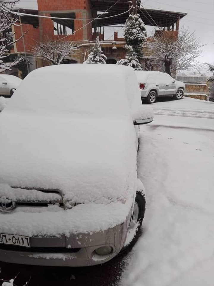 سيارات تغطيها الثلوج