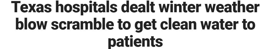 مستشفيات تكساس مع طقس شتوي تدافع للحصول على مياه نظيفة للمرضى