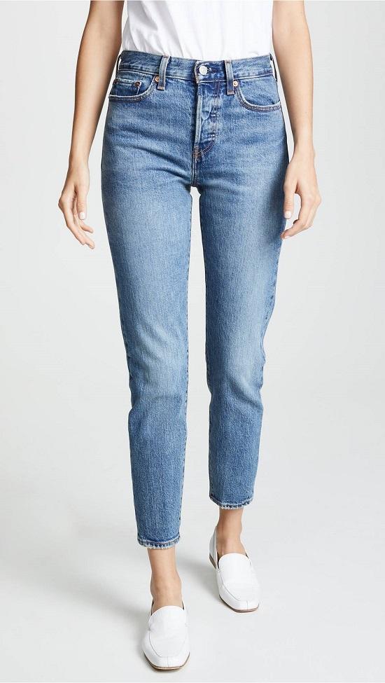 جينز هاي ويست وأرجل مستقيمة