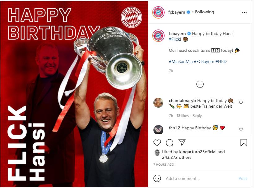 بايرن يحتفل بعيد ميلاد فليك