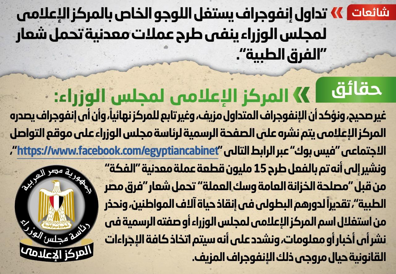 الحكومة تعلن طرح 15 مليون عملة معدنية تحمل شعار فرق مصر الطبية