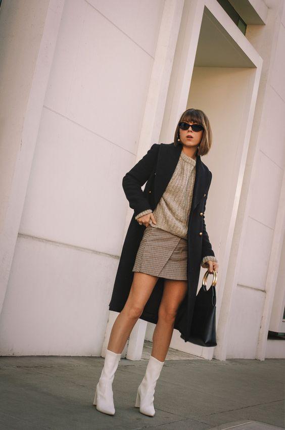 With a long fleece jacket