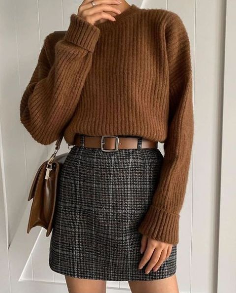 With wool blouse and belt