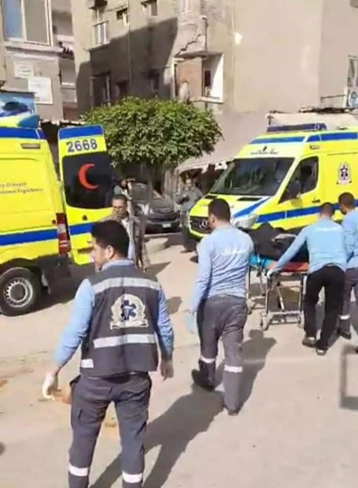 اثناء نقل جثمان رجل وزوجته دهستهما سيارة نقل ثقيل بمدينة كفر الشيخ