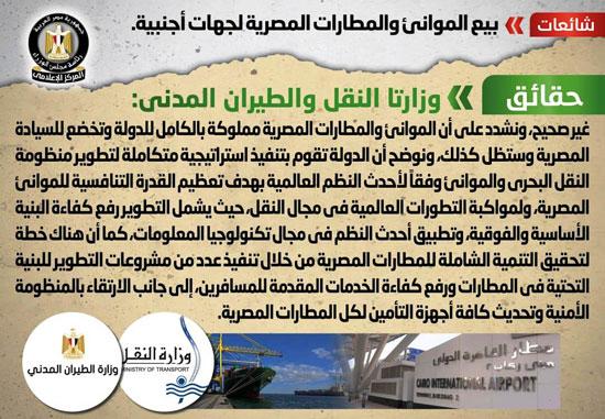 الحكومة تنفى بيع الموانئ والمطارات المصرية لجهات أجنبية