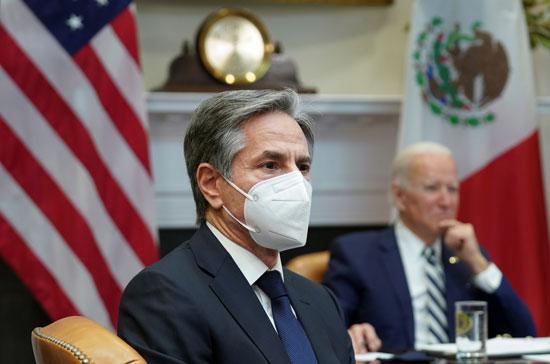 وزير الخارجية الأمريكى أنتونى بلينكن أحد الحضور فى الاجتماع الافتراضى