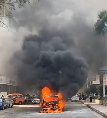 حريق سيارة بشارع البطل في المهندسين (5)
