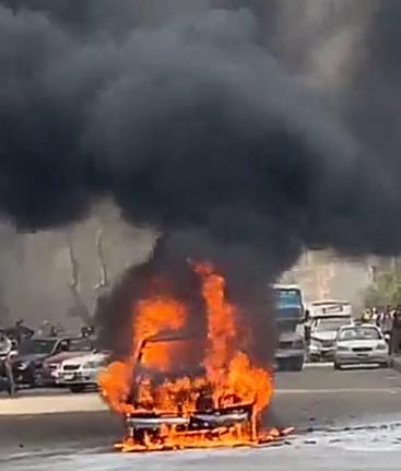 حريق سيارة بشارع البطل في المهندسين (4)