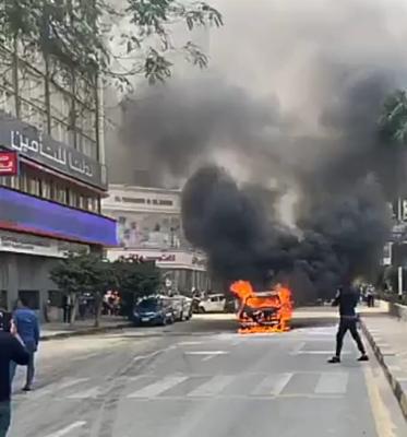 حريق سيارة بشارع البطل في المهندسين (1)