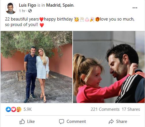 لويس فيجو يحتفل بعيد ميلاد ابنته