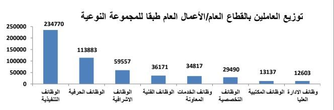 توزيع العاملين بالقطاع العام طبقًا للمجموعة النوعية