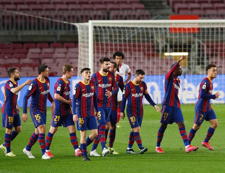 احتفال لاعبو برشلونة