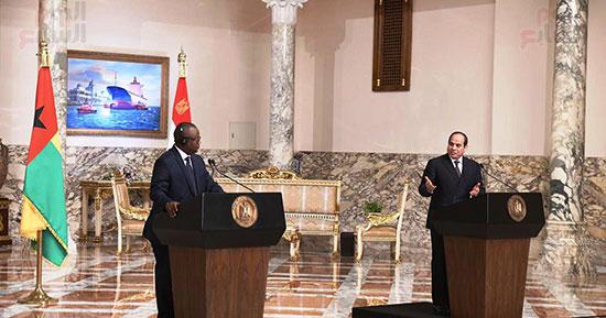 جانب من مؤتمر الرئيس عبد الفتاح السيسي وعمر سيسوكو إمبالو رئيس جمهورية غينيا بيساو