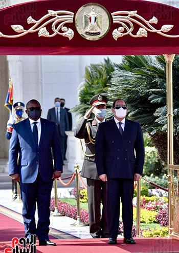 مراسم استقبال عمر سيسوكو إمبالو رئيس جمهورية غينيا بيساو بقصر الاتحادية