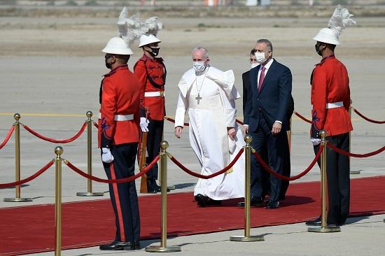 استقبال البابا فرنسيس بقصر بغداد