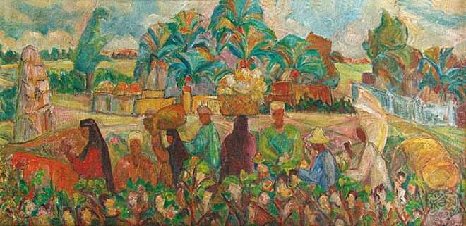 لوحة الحقل للفنانة عفت ناجى