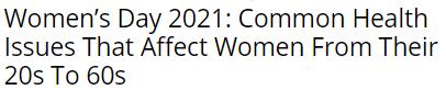 فى يوم المرأة العالمى:المشكلات الصحية للنساء من سن العشرينات إلى الستينيات