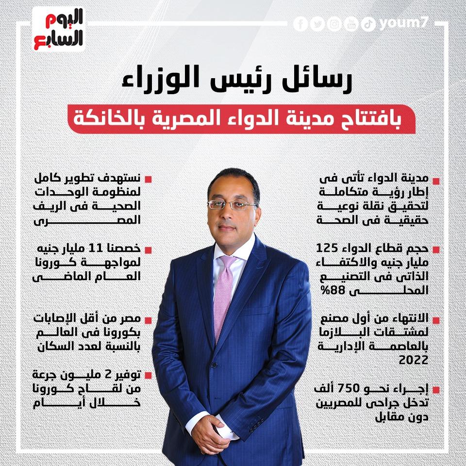 رسائل رئيس الوزراء بافتتاح مدينة الدواء المصرية بالخانكة..