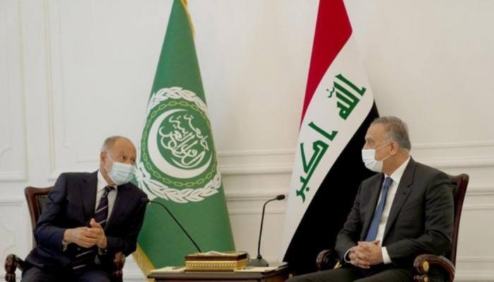 أحمد أبو الغيط فى لقائه مع رئيس الوزراء العراقى مصطفى الكاظمى