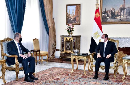 استقبل الرئيس عبد الفتاح السيسى اليوم سيرجى لافروف وزير خارجية روسيا الاتحادية