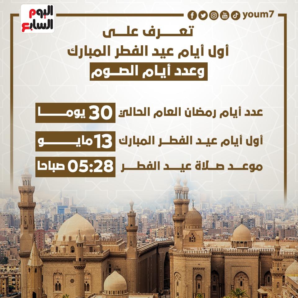 عدد أيام الصيام وأول أيام عيد الفطر المبارك 2021