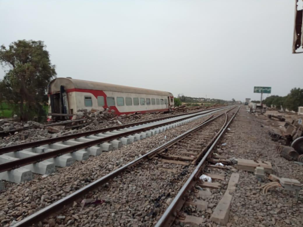 الشريط الجدد للسكة الحديد بموقع حادث قطار طوخ