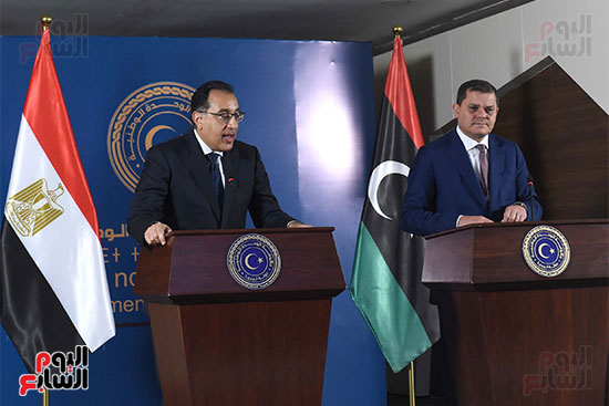 رئيسا الحكومة المصرية الدكتور مصطفى مدبولي، وحكومة الوحدة الوطنية الليبية عبد الحميد الدبيبة