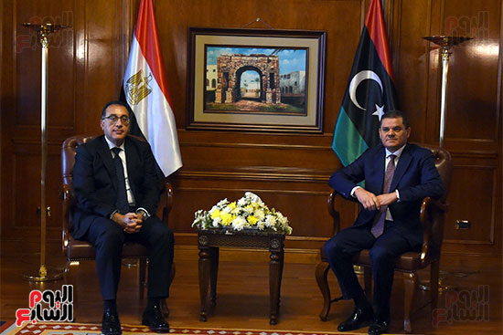 خلال مباحثاترئيس الوزراء المصرى وعبد الحميد الدبيبة