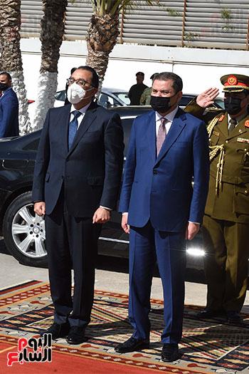 جانب من مراسم استقبال الدكتور مصطفى مدبولى بالعاصمة الليبية طرابلس