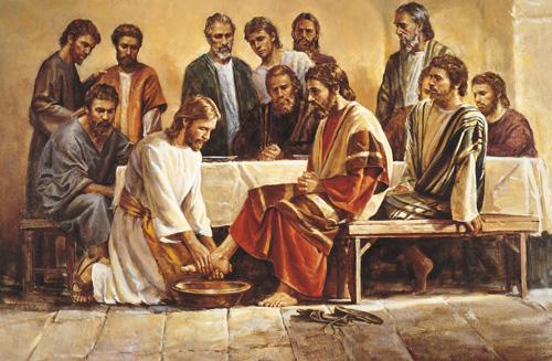 يسوع يغسل أرجل تلاميذه