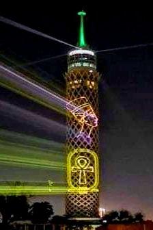 برج القاهرة يتزين بصور ملوك مصر القدماء بالتزامن مع الموكب الذهبى للمومياوات الملكية (2)