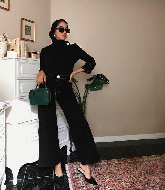 أفكار لتنسيق ملابسك السوداء مع الحجاب (9)