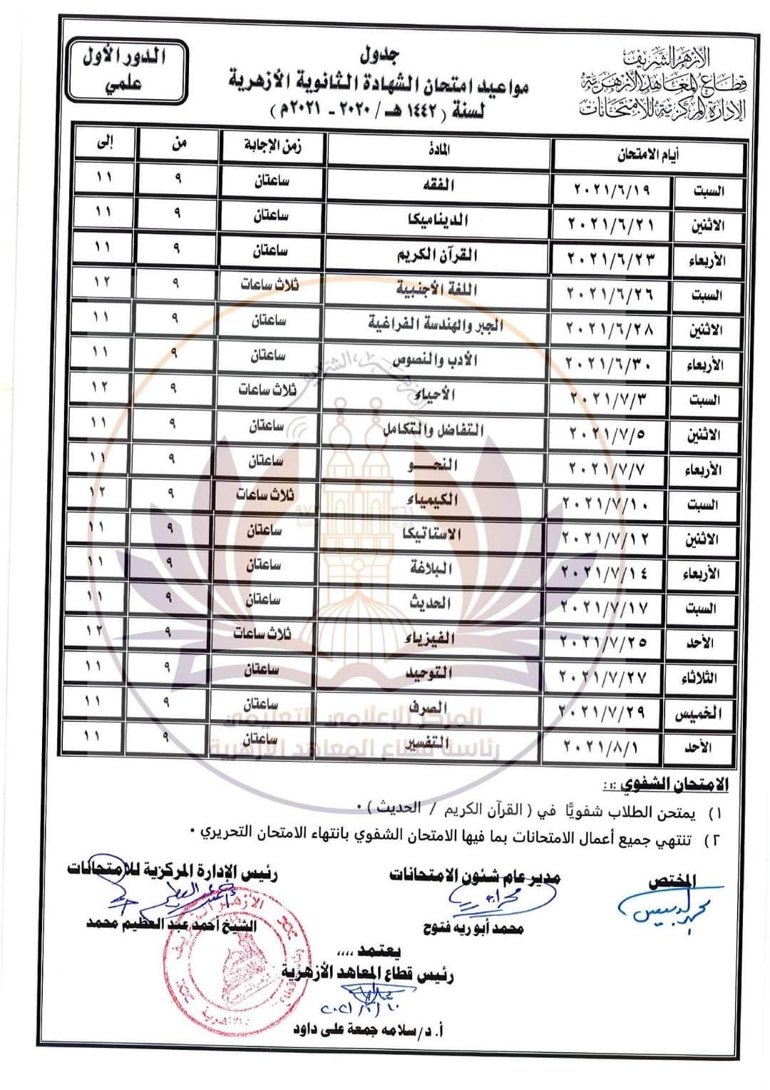 جدول امتحانات الثانوية الأزهرية (3)